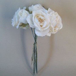 Vintage Artificial Roses Bouquet Cream - R883 S4