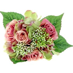 Roses and Hydrangeas Bunch Antique Pink Green - R533