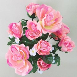 Salmon Pink Silk Roses and White Blossom Bouquet - R256 P1