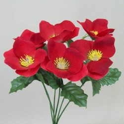 Silk Hellebores Bunch Red - 13X009