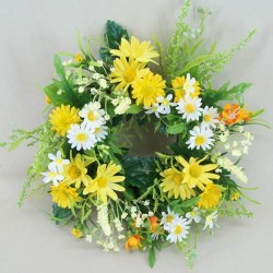 Artificial Daisy and Blossom Wreath or Candle Ring Yellow - D064 B4