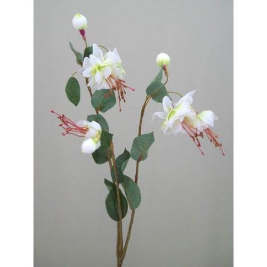 Silk Double Fuchsia Stem Ivory - F026 D4