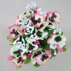 Silk Pansies and Gypsophila Bunch Pink - P099 KK3