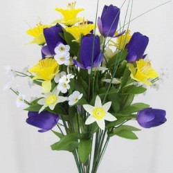 Silk Spring Flower Bouquet Yellow and Purple - S007 Q3