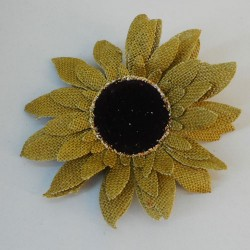 Hessian Sunflowers Green Head Only - S021 LL3