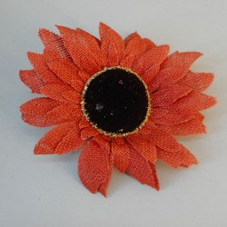Hessian Sunflowers Orange Head Only - S020 LL3
