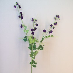 Extra Long Artificial Sweet Peas Stem Aubergine Purple Flowers - S113