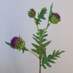 Artificial Thistle and Leaves Spray Purple - T076 R1