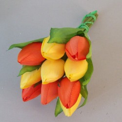 Artificial Tulips Bouquet Orange Yellow - T070 GG1
