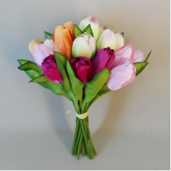 Artificial Tulips Bundle Pink Peach Cream - T028