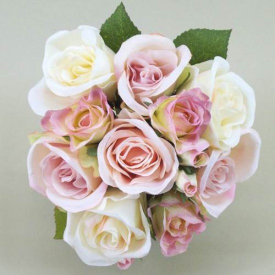 Vintage Silk Rose Bouquet Pink Peach and Cream - R068 L3