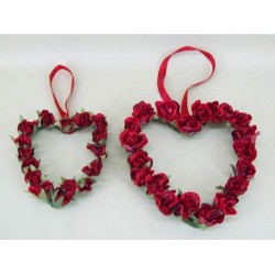 Vintage Rose Bud Hearts x 2 Red - R124 KK1