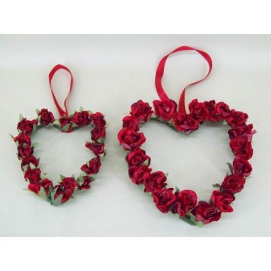 Vintage Rose Bud Hearts x 2 Red - R124 KK1