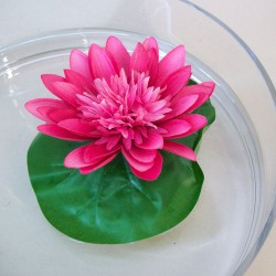 Floating Artificial Lotus Lily Pad Dark Pink - L152 I4