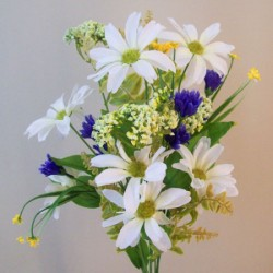 Artificial Wild Flowers Bouquet Blue and White - W039 L3