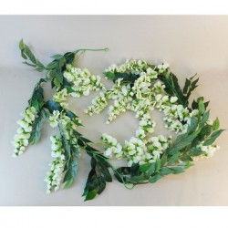 Artificial Flowers Wisteria Garland White - W001 BB3