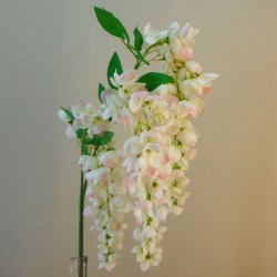 Fleur Artificial Wisteria Three Cream and Pink Flowers - W019 S1