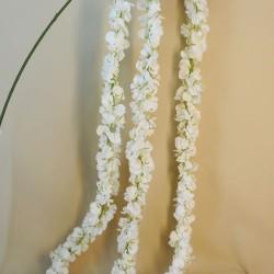 Trailing Artificial Wisteria Three White Flowers - W002 BX14