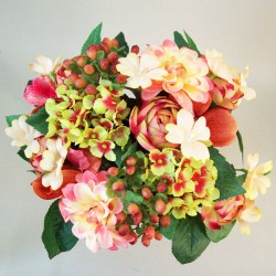 Zinnias Ranunculus and Berries Posy Coral - Z029  GG1