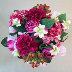 Zinnias Ranunculus and Berries Posy Magenta Pink - Z032 BX13