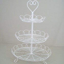 Oval 3 Tier Wire Cake Stand Cream - CAK001