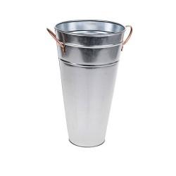 37cm Galvanised Flower Vase with Copper Handles - GAL004