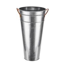 46cm Galvanised Flower Vase with Copper Handles - GAL003