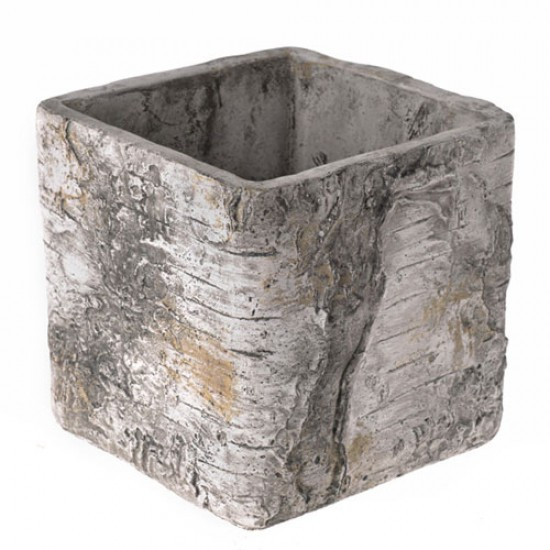15cm Birch Bark Effect Cube Planter - BIR016 11B