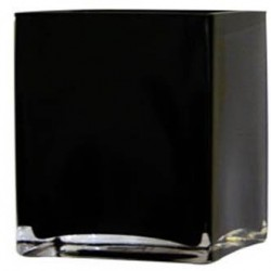 10cm Black Glass Cube Vase - GL002 7C