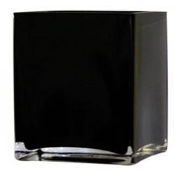 10cm Black Glass Cube Vase - GL002 6B