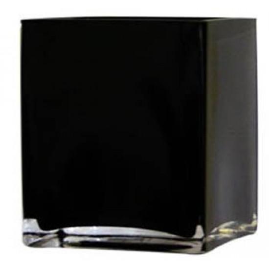 10cm Black Glass Cube Vase - GL002 7C