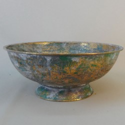 Brocante Metal Flower Bowl Verdigris - MET023 2D