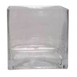 10cm Clear Glass Cube Vase - GL001 3B