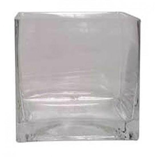 10cm Clear Glass Cube Vase - GL001 3B