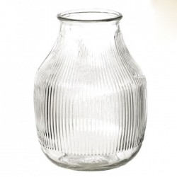 Clear Glass Fine Ribbed Vase 18cm - GL050 11D