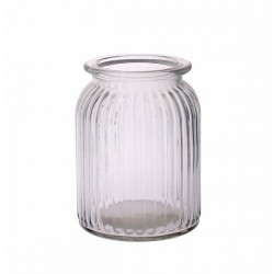 Ribbed Glass Vase 14.5cm Straight Sides - GL048