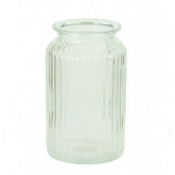 Ribbed Glass Vase 18.5cm Straight Sides - GL111 11A