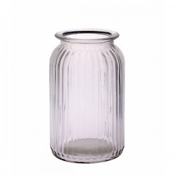 Ribbed Glass Vase 18.5cm Straight Sides - GL049