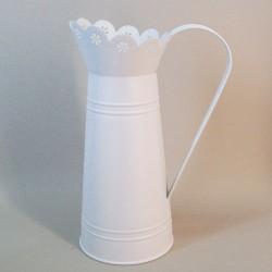 Cream Metal Jug with Lace Top - TIN009 7D