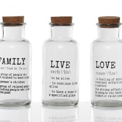 Clear Glass Decorative Bottles Family Live Love Set of 3 - GL077 7B
