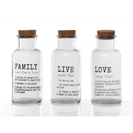 Clear Glass Decorative Bottles Family Live Love Set Of 3