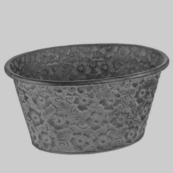 Floral Metal Trough Pewter - TRO001 2B