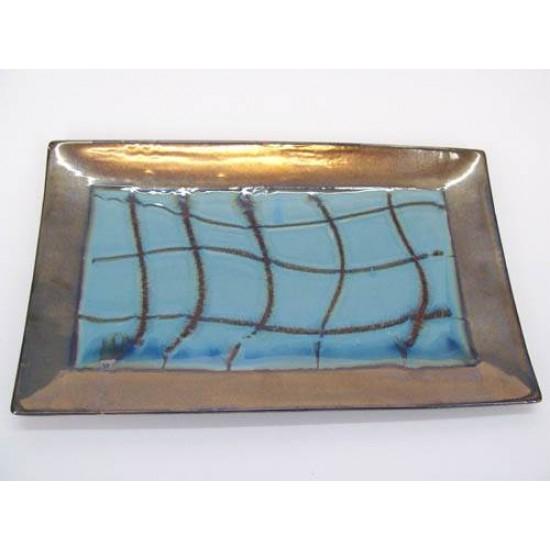 Florence Teal Blue Glazed Ceramic Plate - FL003 5D