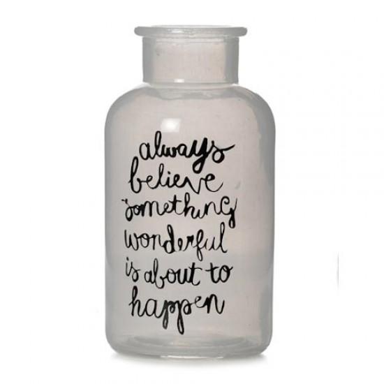 Frosted Glass Bottle Vase 'Believe' - GL084 7C