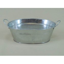 Galvanised Oval Flower Bowl - GAL005