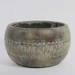 Geometric Earthenware Bowl Bronze 21cm -  BOW012