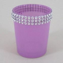 Glass Votive Candle Holder Lavender Sparkle - GL011b 5C