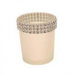 Glass Votive Candle Holder White Sparkle - GL011a 5C