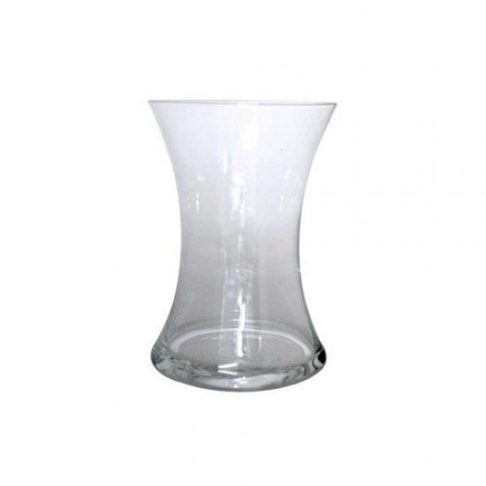 20cm Clear Glass Hand Tied Flower Vase