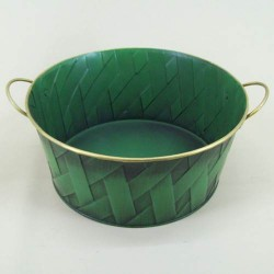 Green Lattice Tinware Dish - TIN001 6C